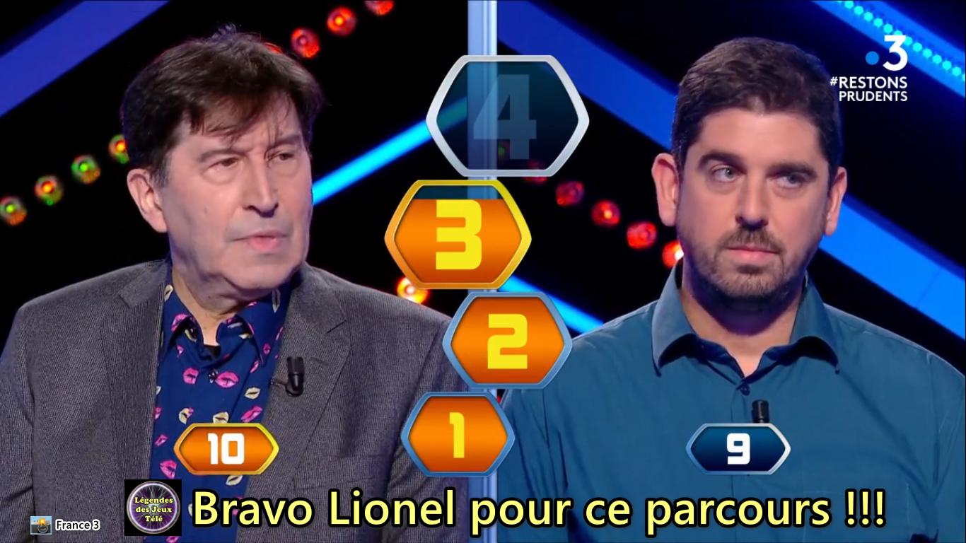 """A 3 points d'une extraordinaire cagnotte, fin de partie pour Lionel dans """"questions pour un champion""""…"""