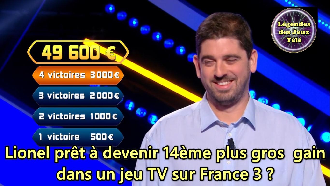 Questions pour un champion : Lionel prêt à devenir 14ème plus gros gain de l'histoire des jeux TV sur France 3 ?