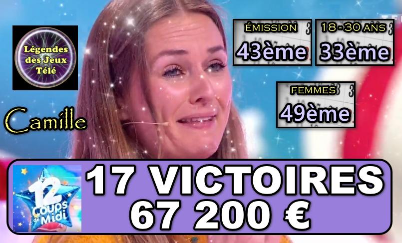 """Camille dans """"les 12 coups de midi"""" : de justesse une 17ème victoire, quelle progression ?"""