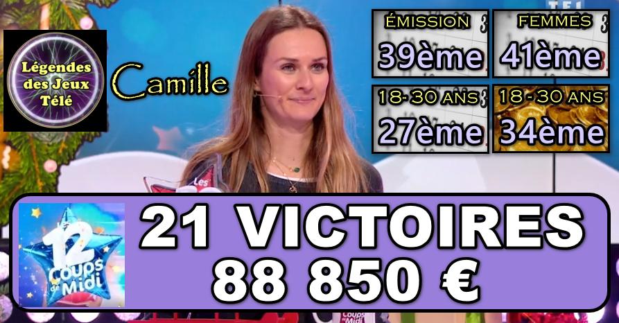 """Les 12 coups de Camille : Camille a-t-elle réalisé un nouveau """"coup de maître"""" pour sa 21ème participation ?"""