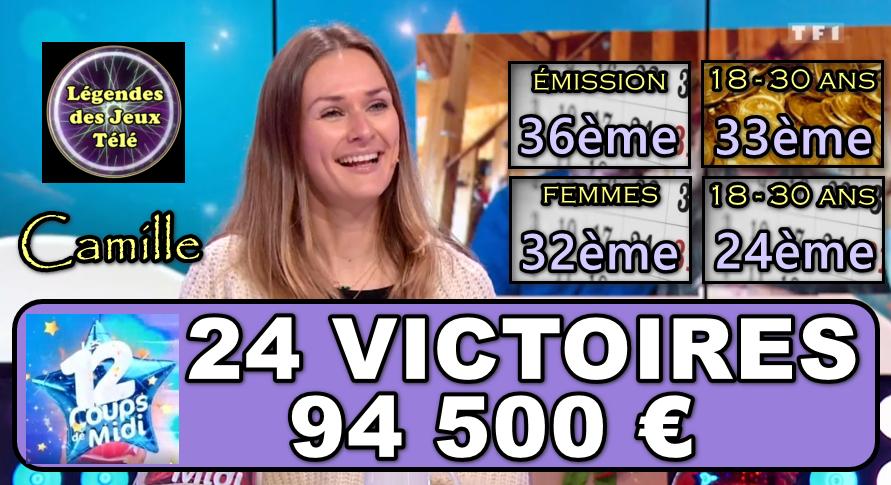 """Camille finira-t-elle par faire exploser les 100 000 € lors du prochain match des """"12 coups de midi"""" ?"""