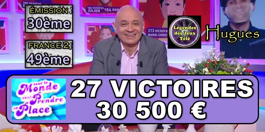 """Entrée triomphante d'Hugues de """"tout le monde veut prendre sa place"""" dans l'histoire des jeux TV ! Quel est le TOP 50 qu'il a atteint ?"""