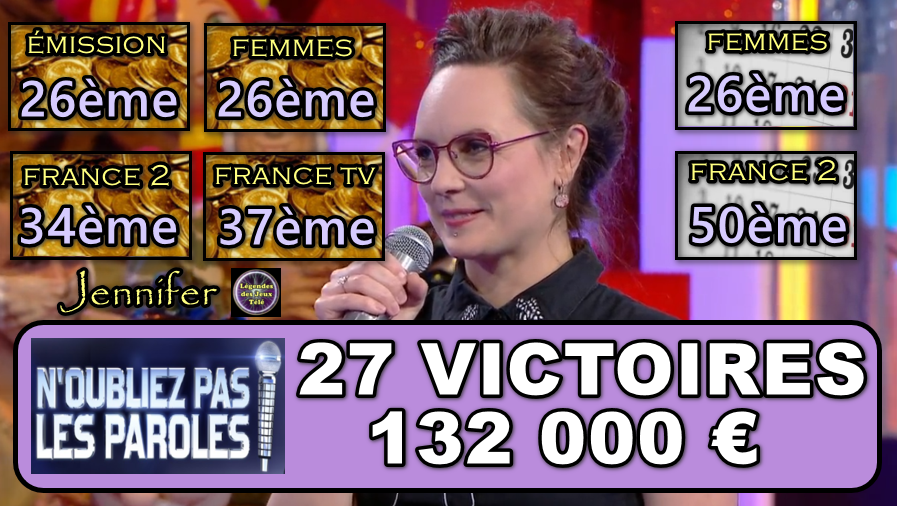 N'oubliez pas les paroles : le classement de l'émission, 5 classements inédits désormais… Où en est Jennifer ?
