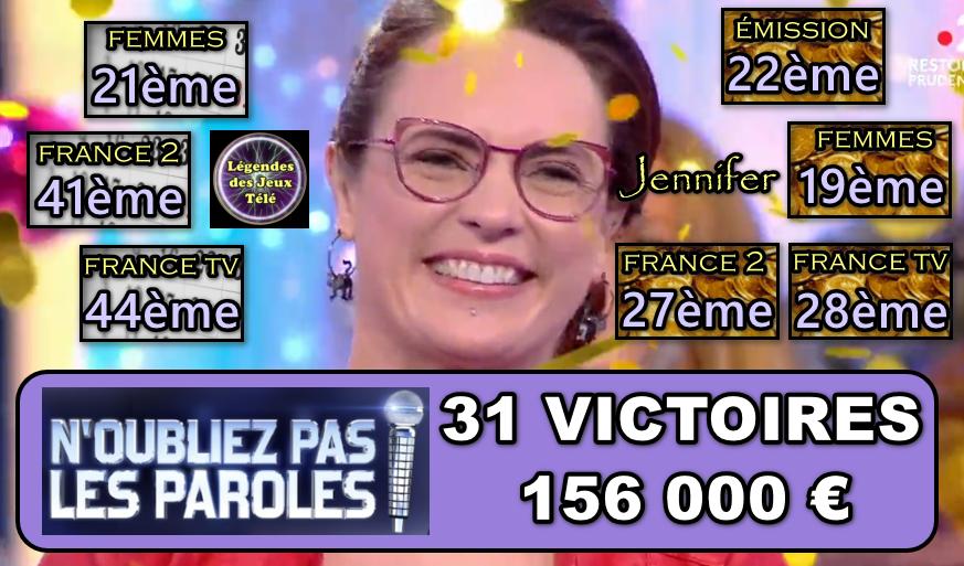 """2 victoires et 20 000 € de plus ce soir pour Jennifer dans """"n'oubliez pas les paroles"""". Où en est-elle sur ses 7 classements ?"""