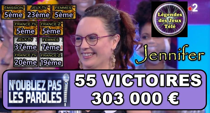N'oubliez pas les paroles : Après avoir dépassé Jérémy, Jennifer s'est-elle rapprochée d'Hervé et au préalable dépassé d'autres records de jeux télévisés ?