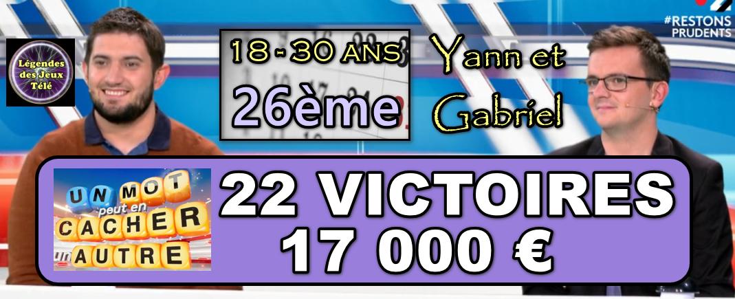 """Grâce aux évolutions de """"légendes des jeux télé"""", quel est le classement de Yann et Gabriel (un mot peut en cacher un autre) ?"""