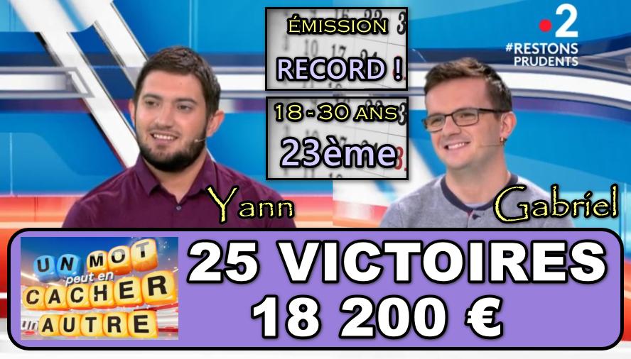 Un mot peut en cacher un autre : Yann et Gabriel prêts à en découvre avec Adolphe et pourquoi pas Jarno, précédents grands vainqueurs de jeux TV ?