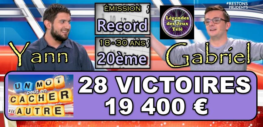 Un mot peut en cacher un autre : TOP 20 des vainqueurs de jeux TV 18-30 ans pour Yann et Gabriel !