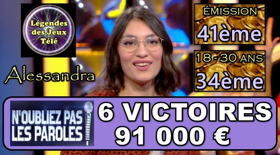 Truc de dingue : en 6 victoires seulement… Entrée d'Alessandra dans le TOP 50 des vainqueurs 18-30 ans !!!