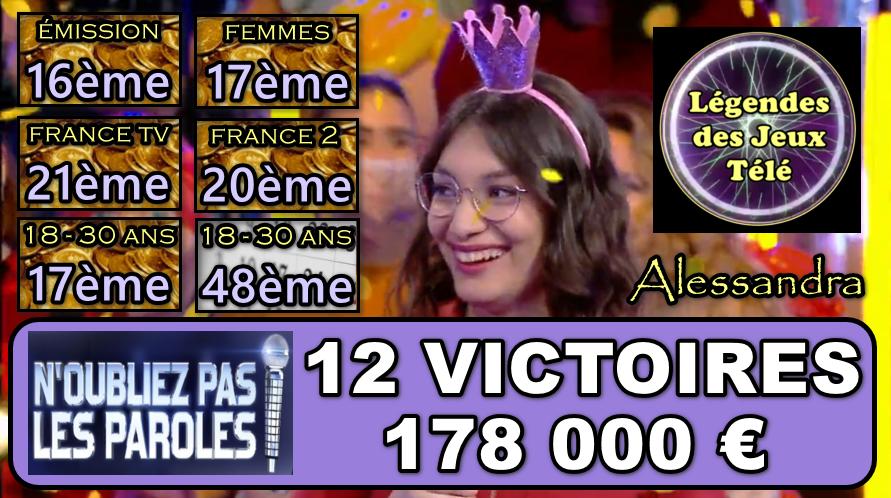 Nouveau carton plein pour Alessandra ce soir !!! Les 200 000 € franchis dès la prochaine partie ?