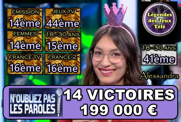 """A 1000 € des 200 000, Alessandra va-t-elle poursuivre sa fantastique ascension ce samedi dans """"n'oubliez pas les paroles"""" ?"""
