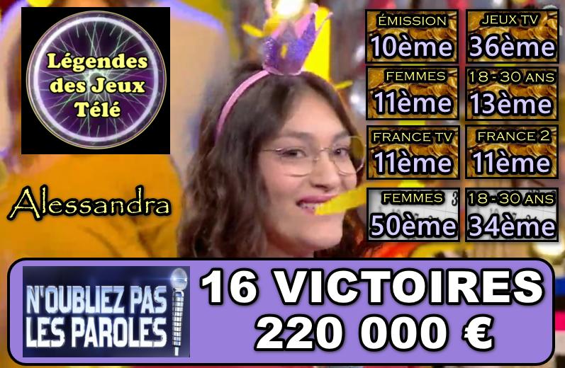 N'oubliez pas les paroles : Les 200 000 € (déjà !) franchis, Alessandra arrivera-t-elle aux 300 000 voire 400 000 € cette semaine ?