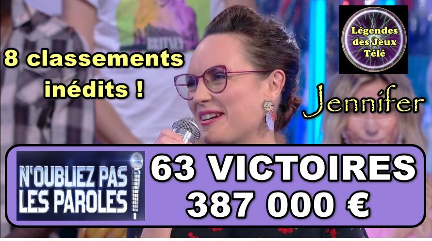 n'oubliez pas les paroles : Jennifer prête à franchir les 400 000 €, dépasser Renaud et pourquoi pas Kévin ?