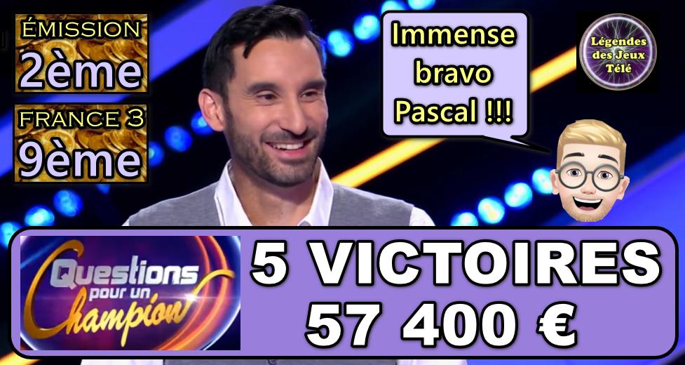 """Evènement dans """"questions pour un champion"""" : Pascal remporte une cagnotte historique et devient 9ème plus grand vainqueur sur France 3 !!!"""