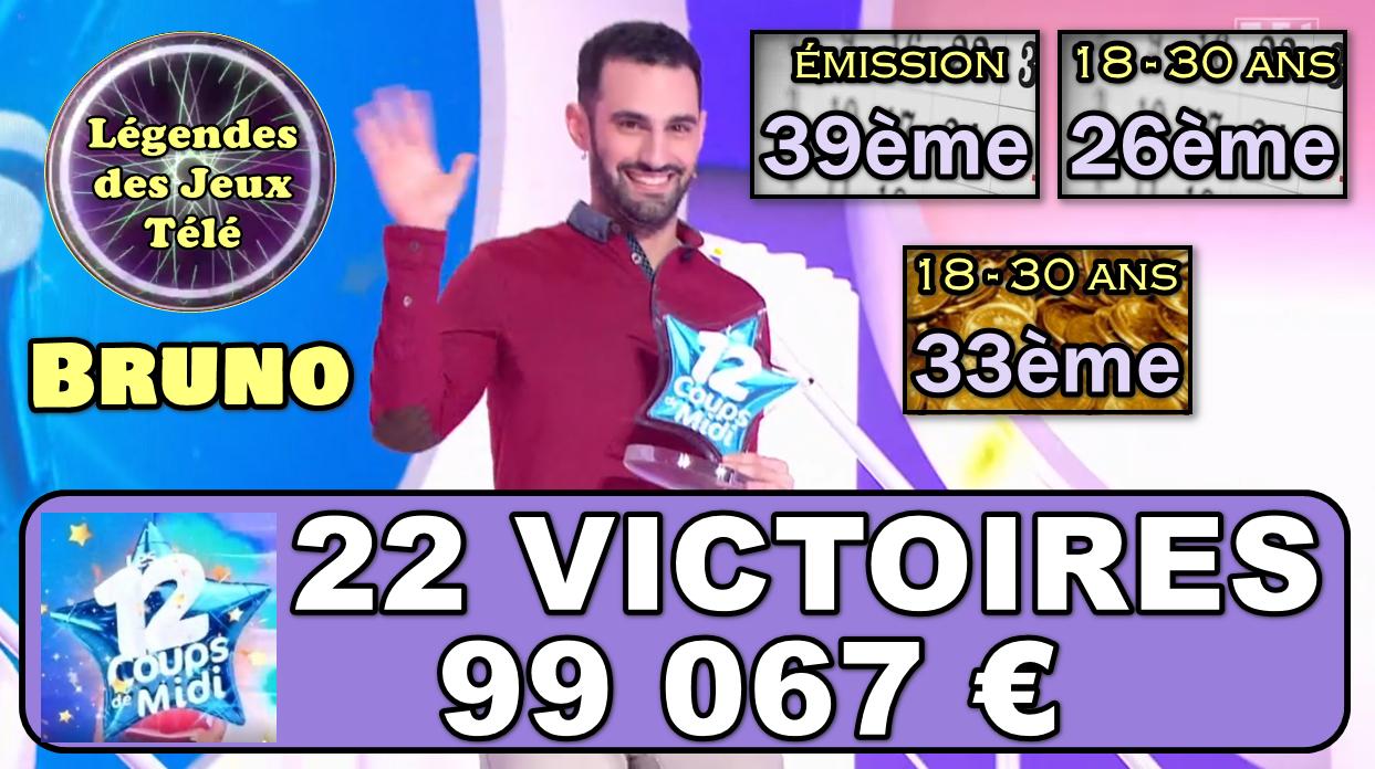 """A moins de 1000 € des 100 000 désormais, Bruno va-t-il franchir ce nouveau palier ce jeudi dans """"les 12 coups de midi"""" ?"""