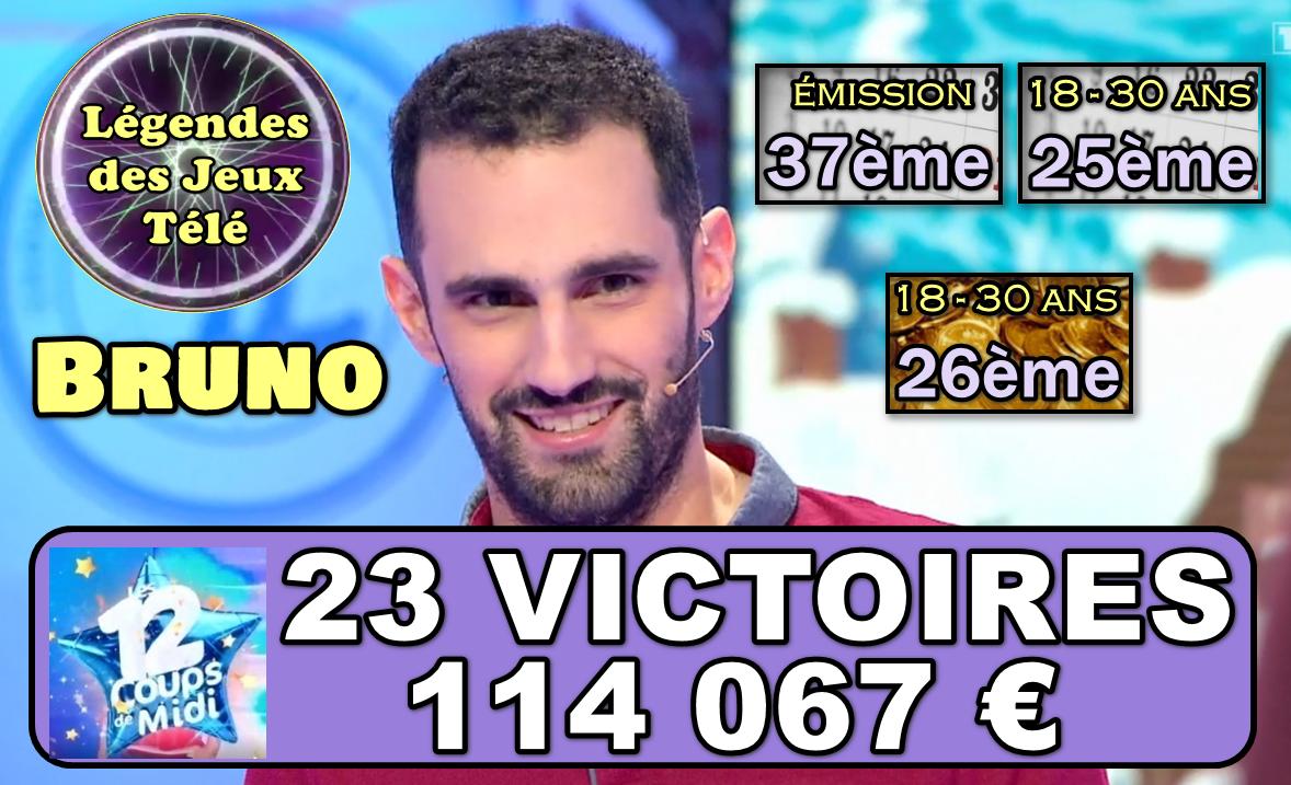 Coup de maître maximal dans « les 12 coups de midi » et la barre des 100 000 € franchie pour Bruno !!! En route vers le TOP 50 des gains sur TF1 en une seule et unique partie ?