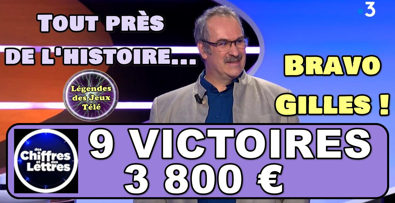 Des chiffres et des lettres : un superbe parcours pour Gilles qui termine à une victoire du TOP 50 de France 3 !