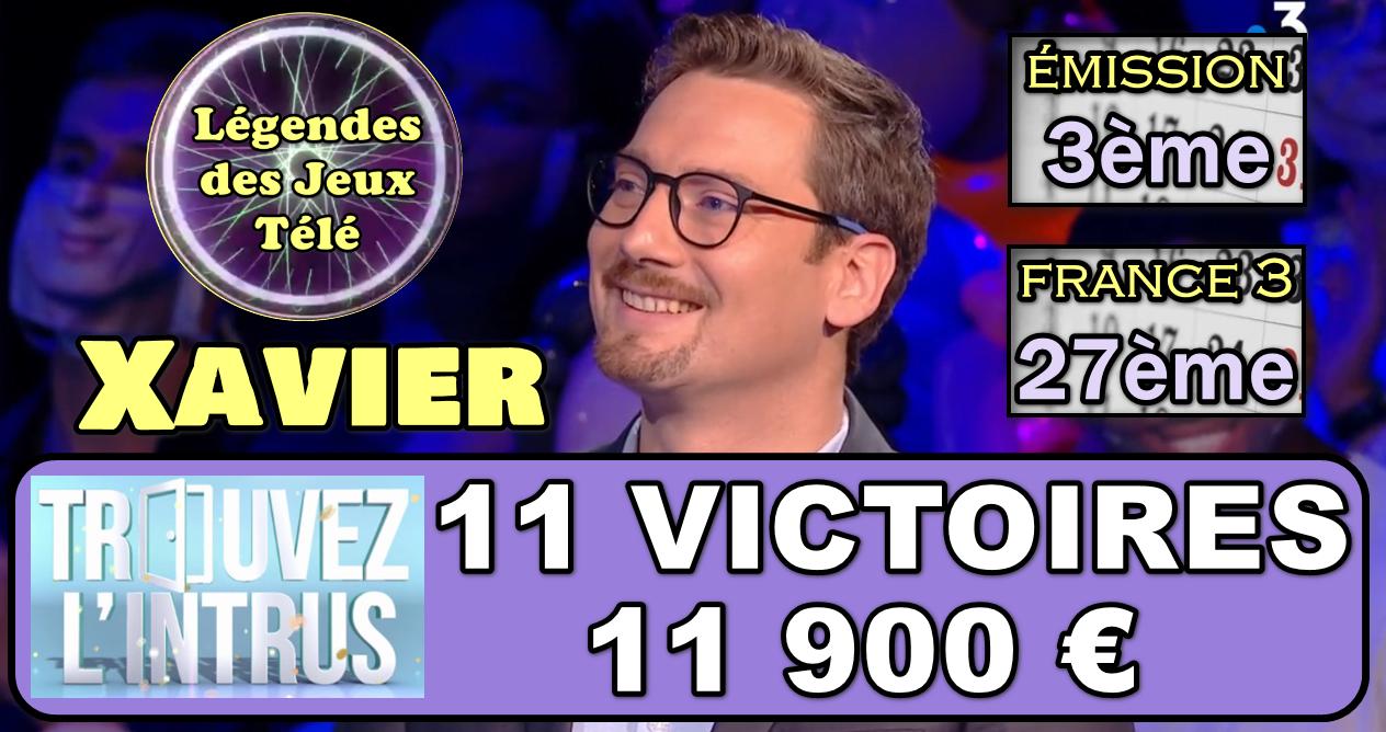 Trouvez l'intrus : 11ème victoire pour Xavier et une entrée dans l'histoire des jeux TV sur France 3 !!!