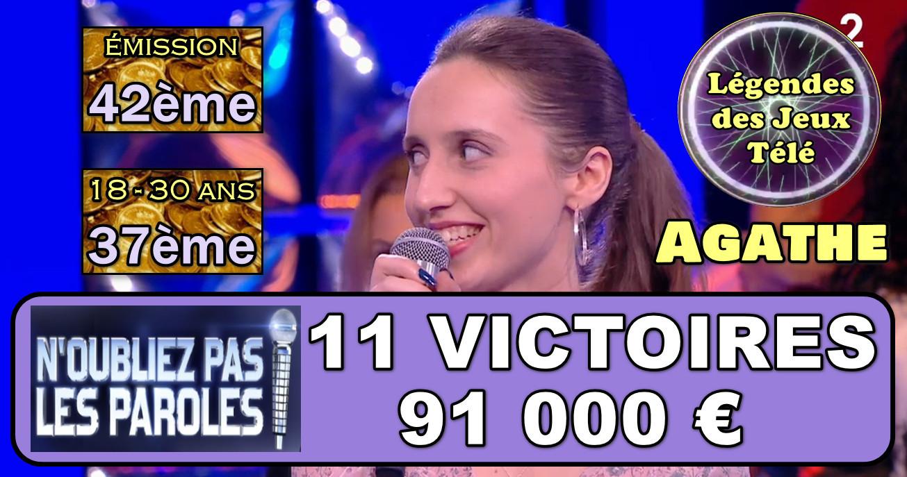 91 000 € et une entrée dans l'histoire des 18-30 ans dans un jeu TV pour Agathe (NOPLP) !!!