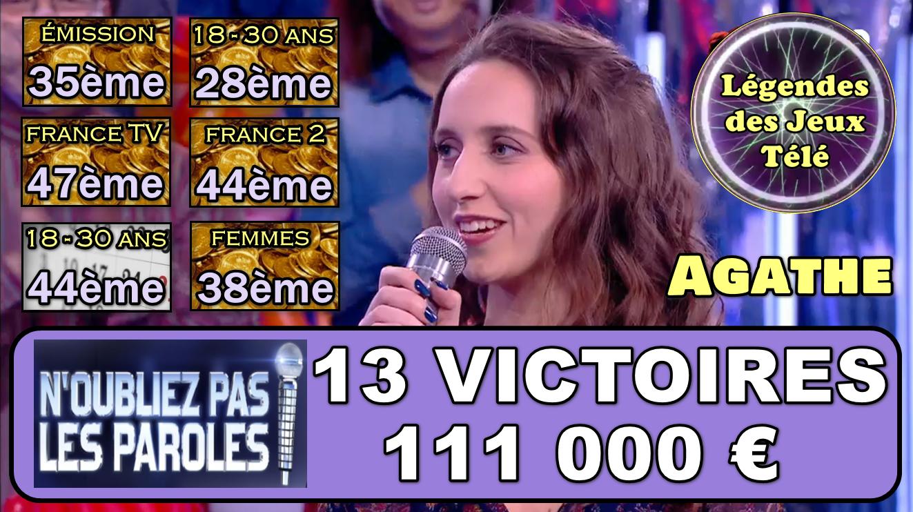 13ème victoires, les 100 000 € franchis : Agathe explose les scores et intègre encore plus l'histoire des jeux TV !!!