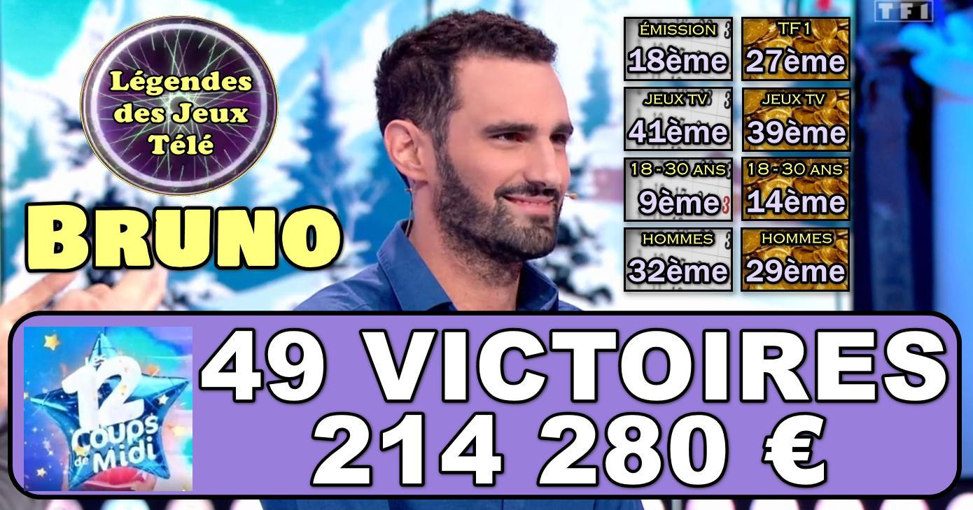 Bruno franchira-t-il le seuil des 50 victoires ce mercredi dans « les 12 coups de midi » ?
