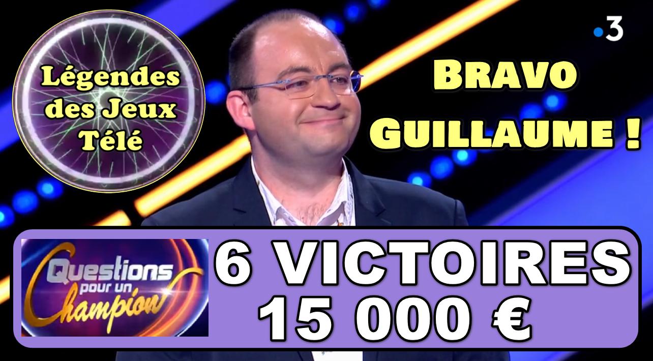 """Historique : Pour la première fois un candidat (Guillaume) dépasse les 5 victoires dans """"questions pour un champion"""" !!!"""