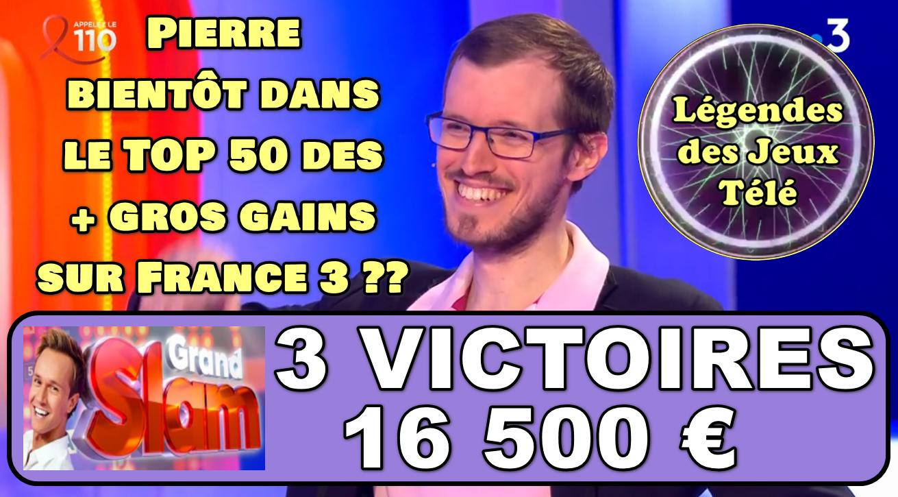 Le Grand Slam : Pierre va-t-il rentrer dans les 50 plus gros gains de l'histoire des jeux TV sur France 3 dimanche prochain ?