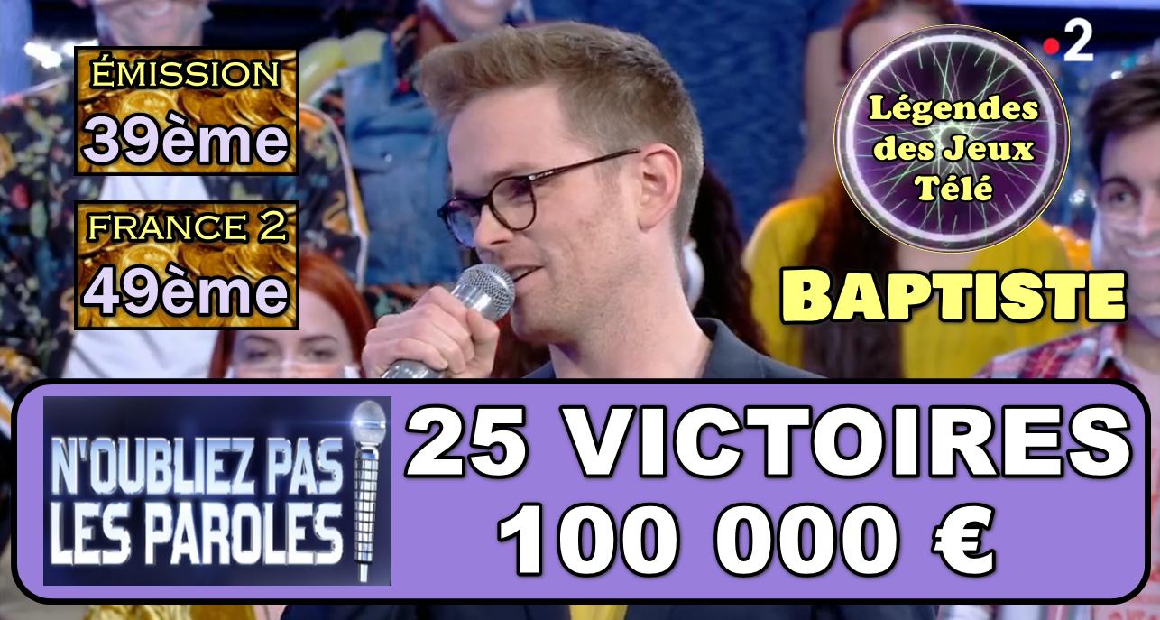YES ! 100 000 € pile : Baptiste intègre le TOP 50 des plus gros gains sur France 2 !!!