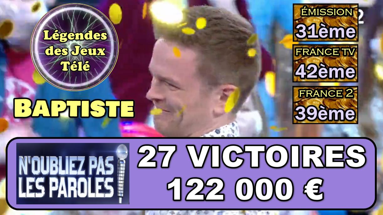 122 000 € et une entrée triomphante pour Baptiste dans les masters de NOPLP !!!
