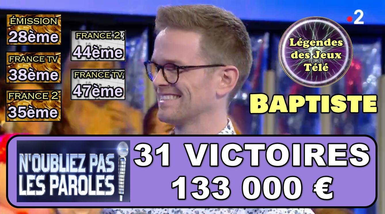 Pas d'argent supplémentaire ce vendredi… Mais deux nouveaux classements ont été atteint par Baptiste !