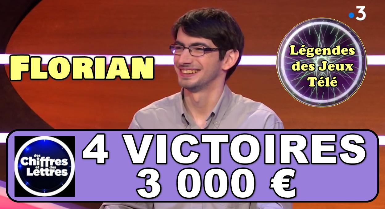 """A défaut de battre le record du jeu, Florian pourrait-il intégrer une seconde fois le TOP 50 des + longues durées victorieuses sur France 3 grâce à """"des chiffres et des lettres"""" ?"""