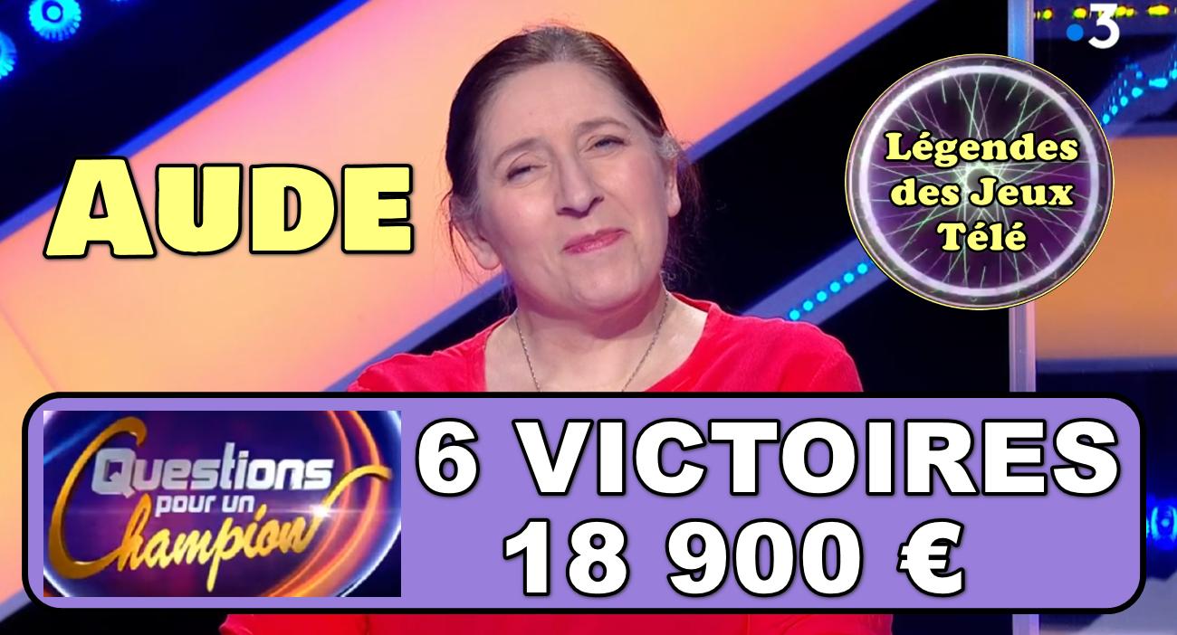 """6 victoires pour Aude dans """"questions pour un champion"""" !! Va-t-elle battre le record du jeu ce mercredi ?"""
