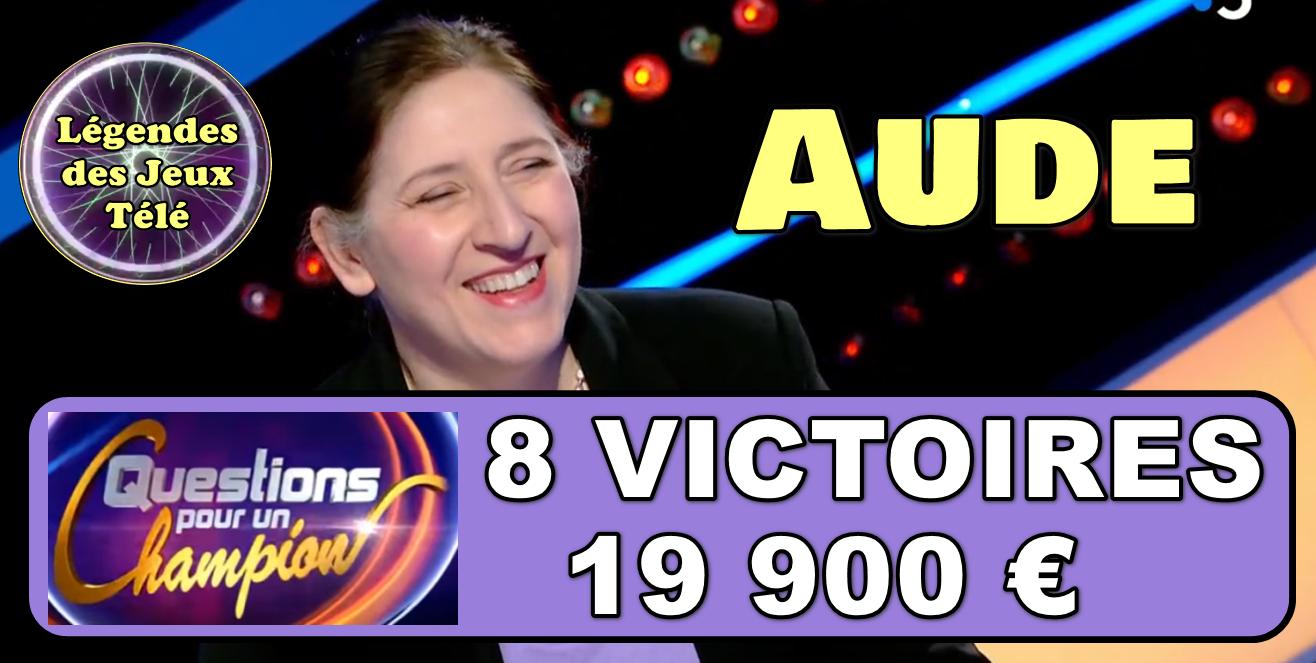 """Recordwomen de """"questions pour un champion"""", Aude va-t-elle poursuivre sa fantastique ascension ?"""