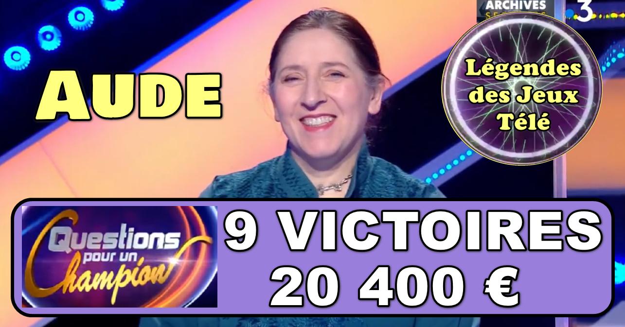 """9ème victoire pour Aude, recordwomen de """"questions pour un champion"""" !! pourquoi la 10ème victoire pourrait-elle être une formalité pour elle ?"""