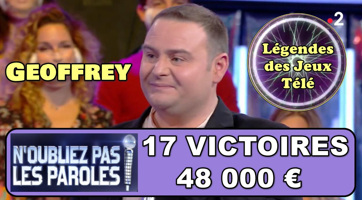 Il ne rentrera pas dans l'histoire : Geoffrey perd son micro d'argent ce mardi après 48 000 € en 17 victoires..