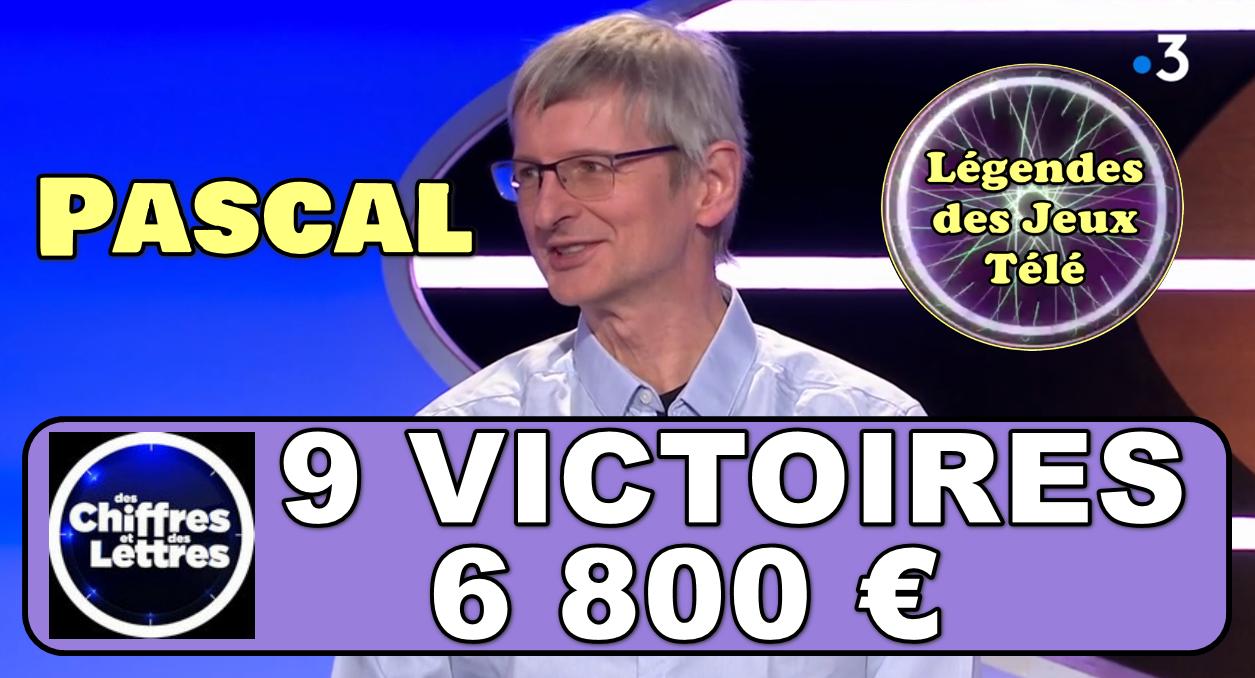 """9 victoires pour Pascal dans """"des chiffres et des lettres""""… Prêt à faire exploser le carton plein et se hisser dans l'histoire des jeux TV diffusés sur France 3 ?"""