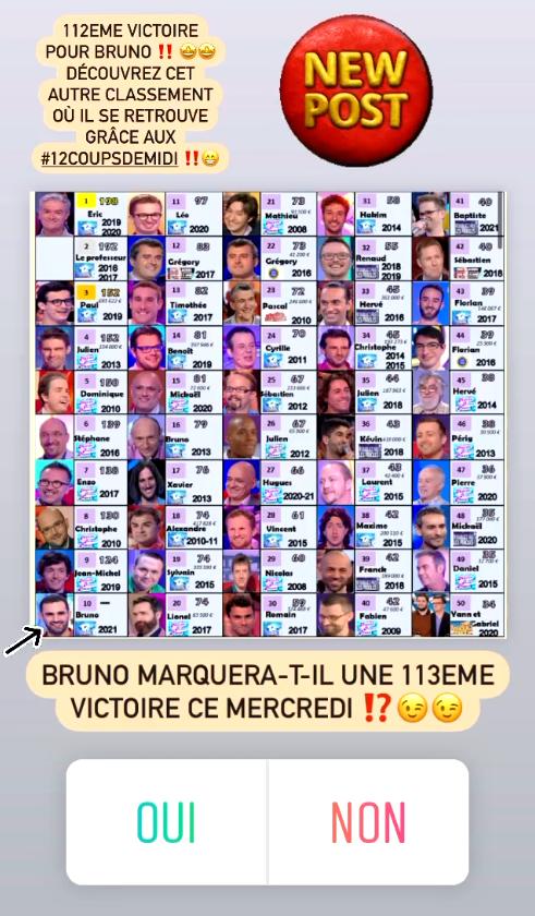 Bruno prêt à gagner à nouveau ce mercredi ? A vous de voter sur Instagram !
